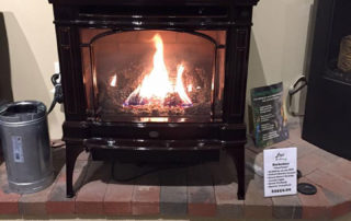 Lopi Berkshire Gas Free Standing stove with porcelain finish.
