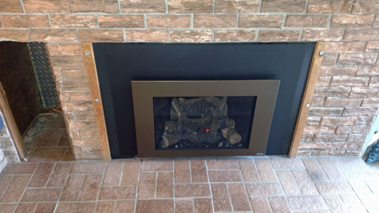 Fireplace X 430 Gas Insert With Bronze Shadow Box Face